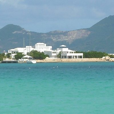 YCV view from the sea on the West with the background of St.Martin Island hills to the South West