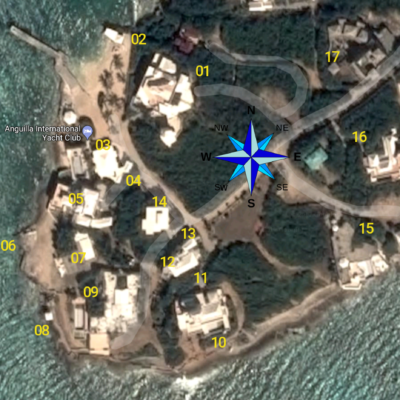 Aerial view of YCV with location of the 17 concrete structures plus the pier and beach